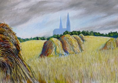 SCENE OF CHARTRES CATHEDRAL 2018 70 X 50CM