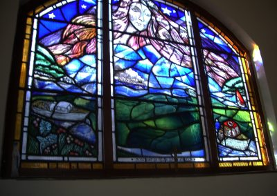 Sanctuary window (North). Parish Church of 'Our Lady Star of the Sea', Salcombe, Devon, UK. 1986 1500mm x 2500mm