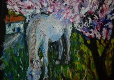 WHITE HORSE WITH ALMOND BLOSSOM 2017 30 X 20CM