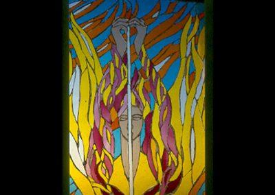 ANGEL OF FIRE WINDOW FOR SCHOOL HALL (DETAIL) 1999